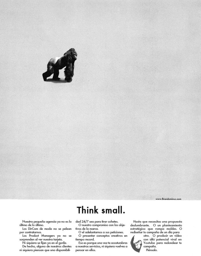Adaptacion del famoso print de Volkswagen, Think Small