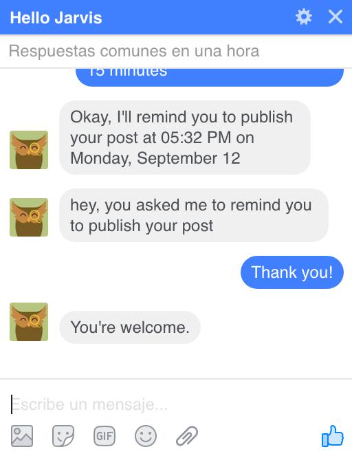 El Chat bot de hello Jarvis, avisando